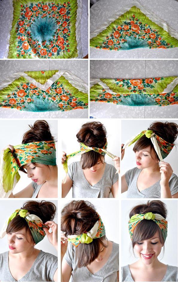 出典:http//img.saifou.com/ ・バンダナ、スカーフを画像上部のように折り畳む・うなじを中心に持ってきて巻き付け、頭頂部付近(お好きな場所で!