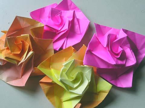 ハート 折り紙:折り紙バラ花束作り方-masi-maro.com